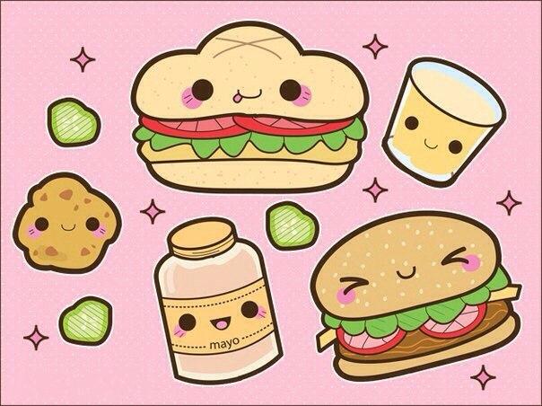 кавайные рисунки для срисовки еда