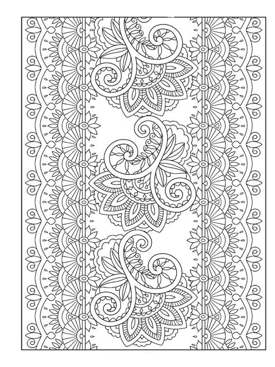 mehndi coloring pages - henna coloring book