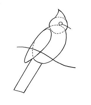 03. Как нарисовать птицу на ветке