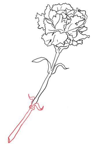 08. Как нарисовать гвоздику поэтапно