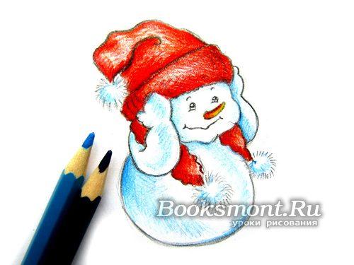 Белые участки туловища и бубоны на шапке раскрашиваем голубым карандашом