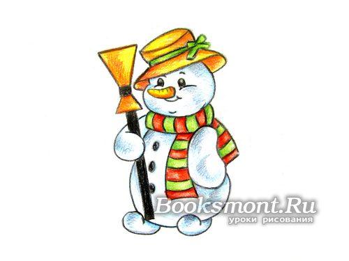 Рисунок снеговика на белом листе бумаги