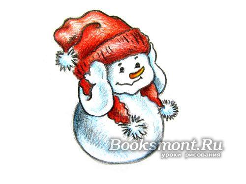 нарисованный снеговик