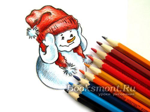 Рисунок снеговика на Новый год