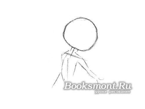 рисуем окружность - это голова, к ней дорисовываем шею и ручки