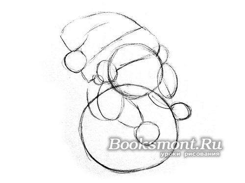 Прорисовываем по бокам головы контур рук снеговика