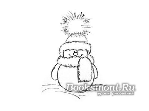 подготовить рисунок снеговика на Новый год к нанесению цвета