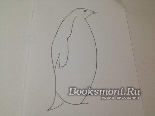 рисуем мордочку пингвина и его плавник