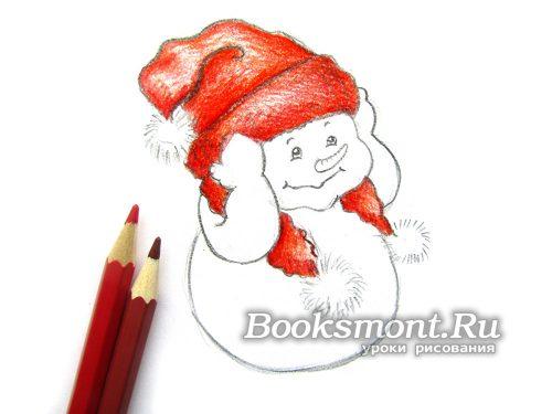 Используем темно-красные карандаши для придания объема и интенсивности цвета на шапке