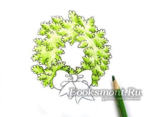 красим веточки светло-зеленым карандашом