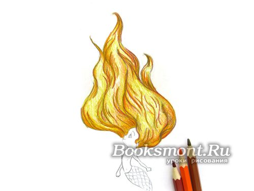 рисуем глубину цвета волос оранжевым карандашом