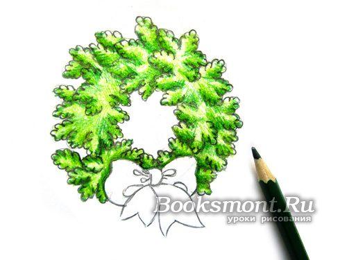 придаем объем веточкам темно-зеленым карандашом