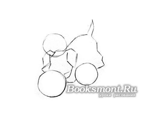 Рисуем пропорции собачки и новогодние шары