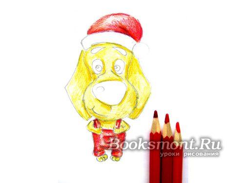 красными карандашами разной насыщенности закрашиваем участки одежды
