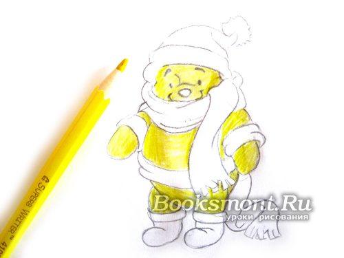 раскрашиваем все туловище и мордочку желтым карандашом