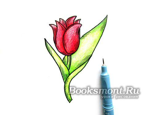 черным линером рисуем контур цветка