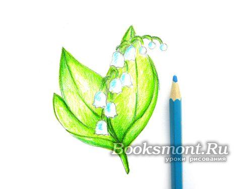 цветочкам ландыша придаем голубые штрихи