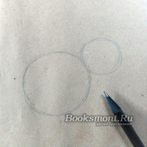 рисуем на центре листа два круга, которые соприкасаются краями
