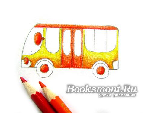 Крышу, серединки автобуса, двери, переднюю фару и зеркало окрашиваем в красный цвет