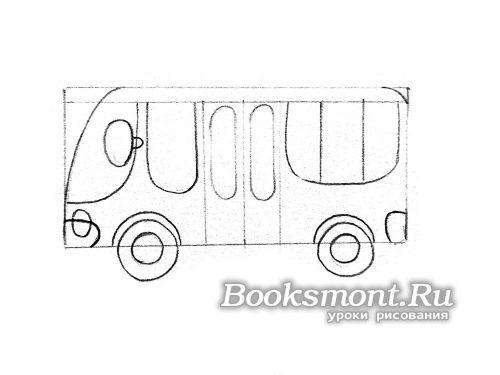 Дорисовываем окна для водителя автобуса и для пассажиров