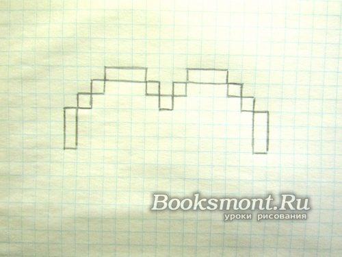 рисуем с каждой стороны сердца блок из трех квадратов