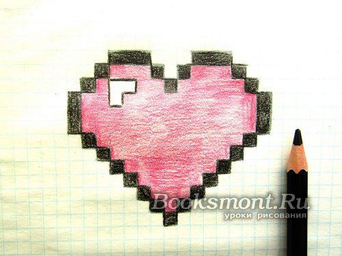 Все клеточки, которые создают контур сердца, закрашиваем черным карандашом
