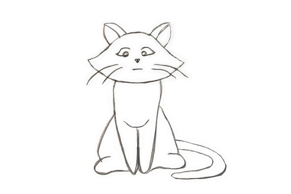 Картинки кошки карандашом для срисовки, праздник картинки фото