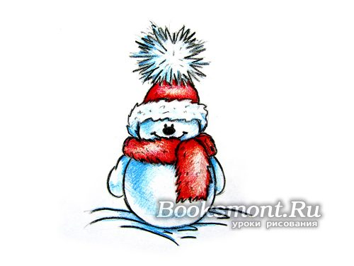 рисованный снеговик