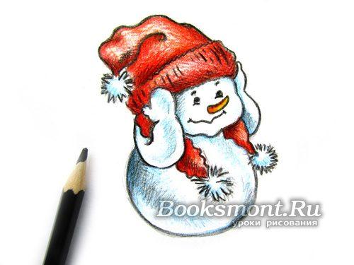 прорисовываем линиии снеговика черным карандашом