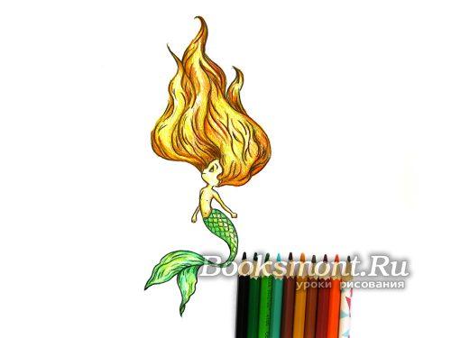 рисунок русалочки карандашом