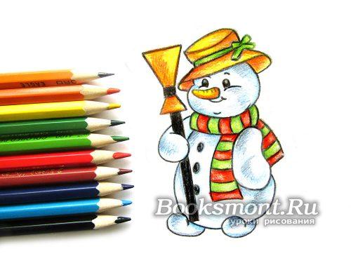 Как нарисовать снеговика легко и красиво