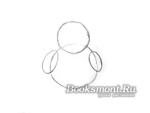 рисуем два круга и два овала