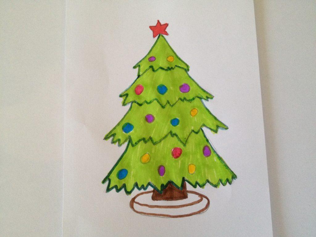 Новог елки картинки с карандашом