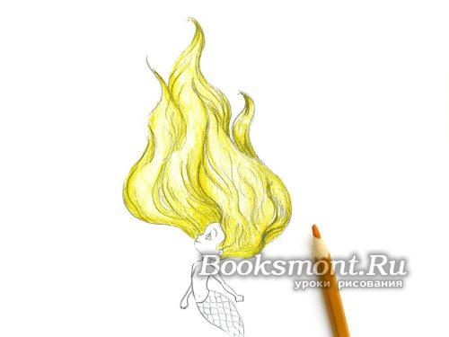 раскрашиваем светло-желтым карандашом волосы
