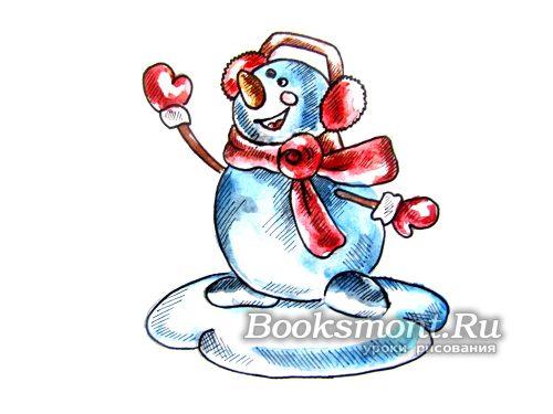 Готовый снеговик акварельными красками