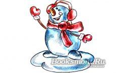 Учимся рисовать снеговика акварелью поэтапно