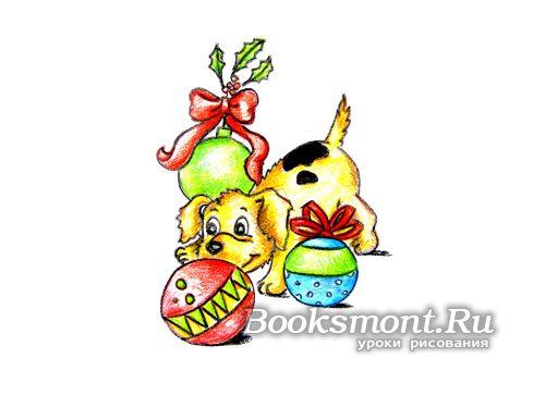 Красивая собачка с елочными шарами и веточками омелы