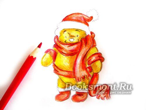 создадим объем на красном новогоднем шарфе