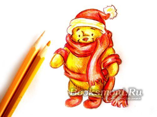 Светло-желтым и оранжевым карандашом раскрасим меховые вставки на шапке и обуви