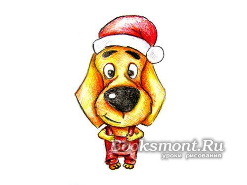 Готовый рисунок собаки в новогоднем стиле