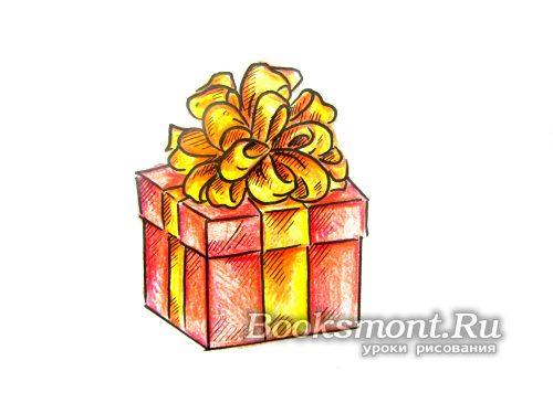 нарисованный подарок на Новый год