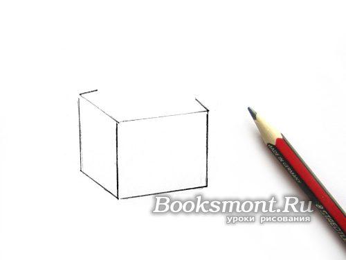 соединяем горизонтальными линиями верхние и нижние концы граней куба
