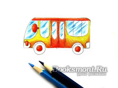 Стекла транспорта закрашиваем голубым и синим карандашом
