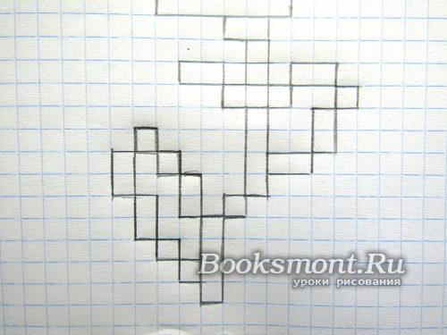 выводим два блока по две клеточки и два квадрата