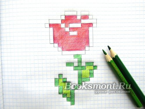 Используя зеленый карандаш или фломастер придаем естественный цвет листочкам