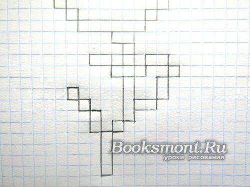 чтобы получить блок из двух клеток ведем линии от верхнего левого уголка