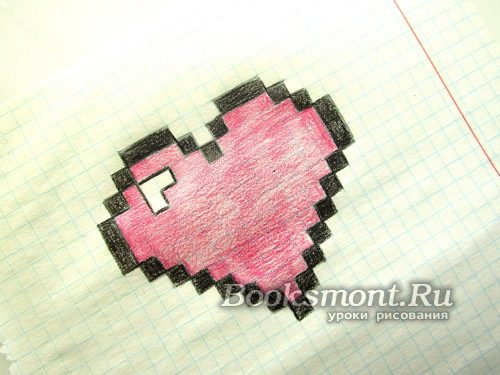 красивое сердце по клеточкам