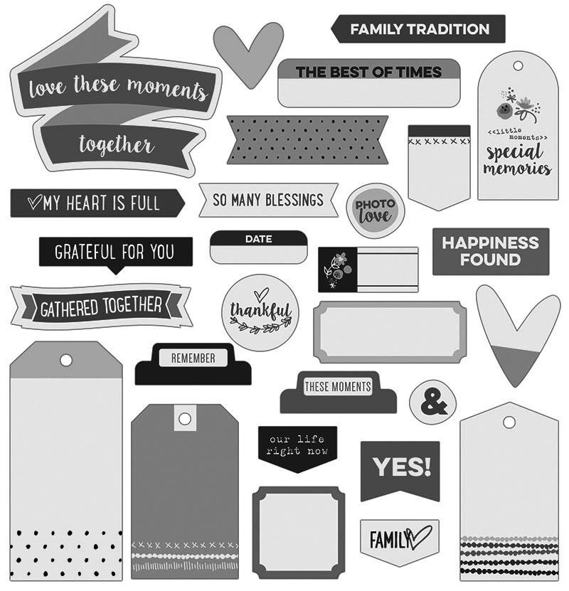 Черно-белые стикеры для личного дневника