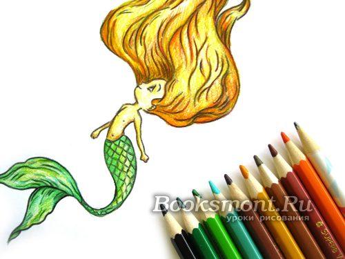 Миниатюра к статье Как нарисовать русалочку цветными карандашами