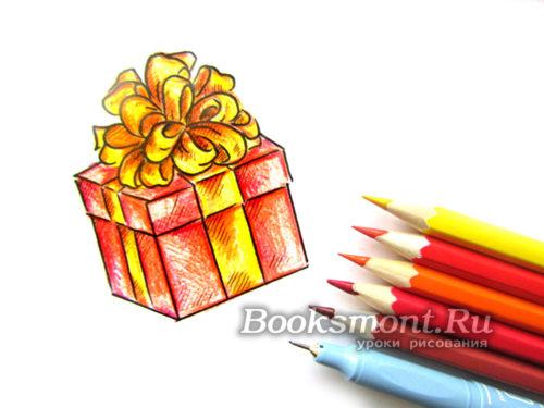 Миниатюра к статье Как нарисовать подарок на Новый год